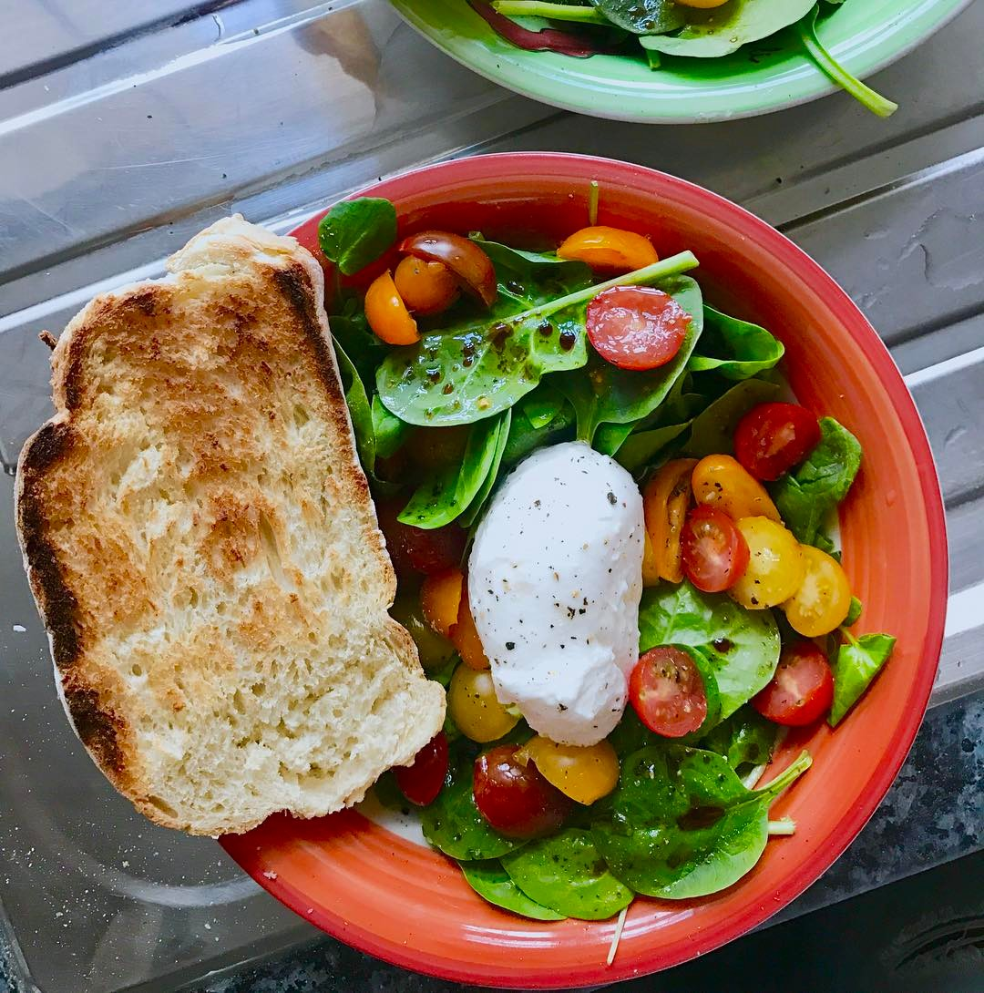 Lunch anyone? Whipped up this tomato and mozzarella salad thathellip